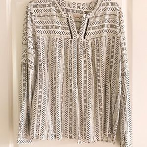 Loft black and white tribal blouse